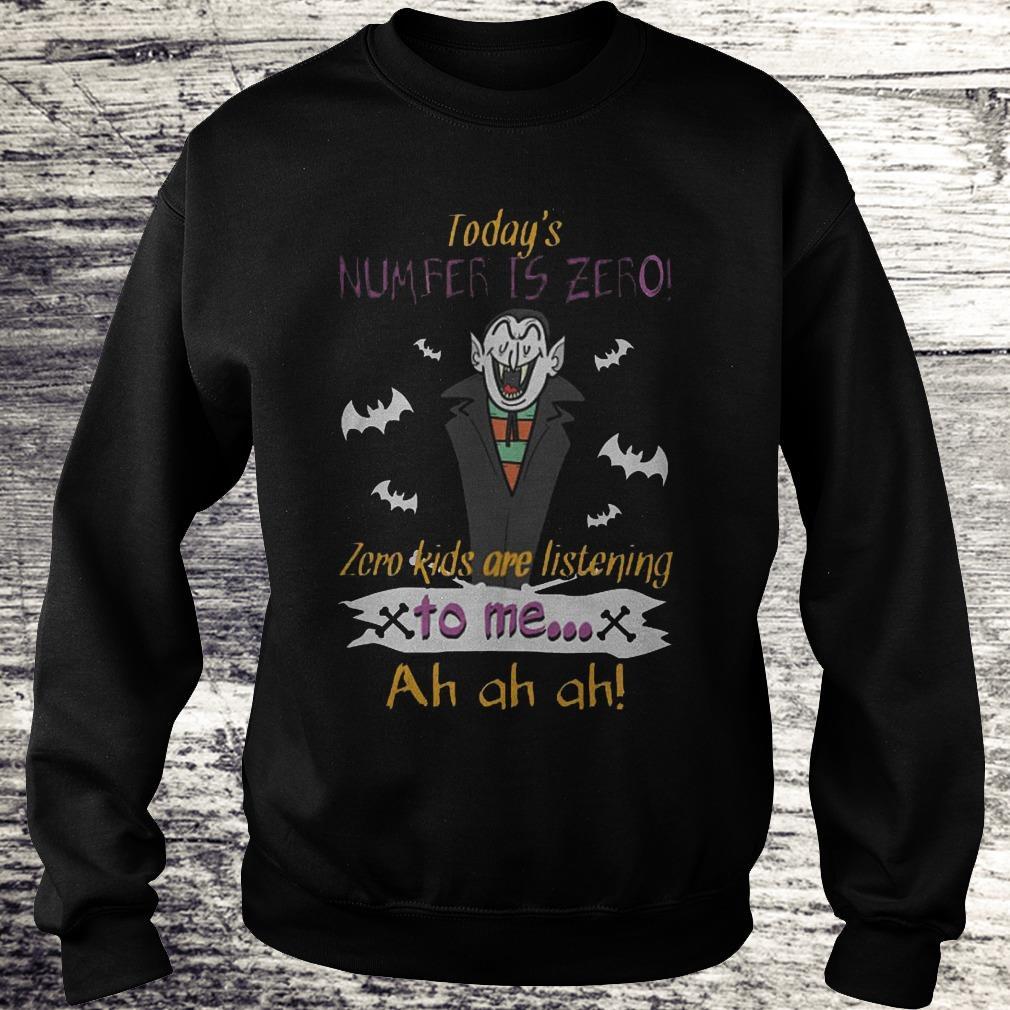 Today's Number Is Zero Zero Kids Are Listening To Me Ah Ah Ah Skull Count Von Count Teacher Halloween Sweatshirt Sweatshirt Unisex