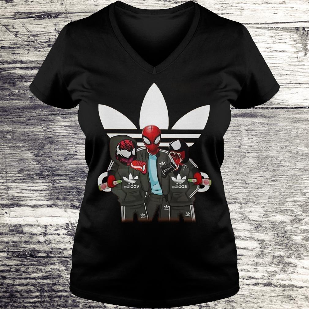 Venom And Spiderman Adida Shirt Ladies V-Neck