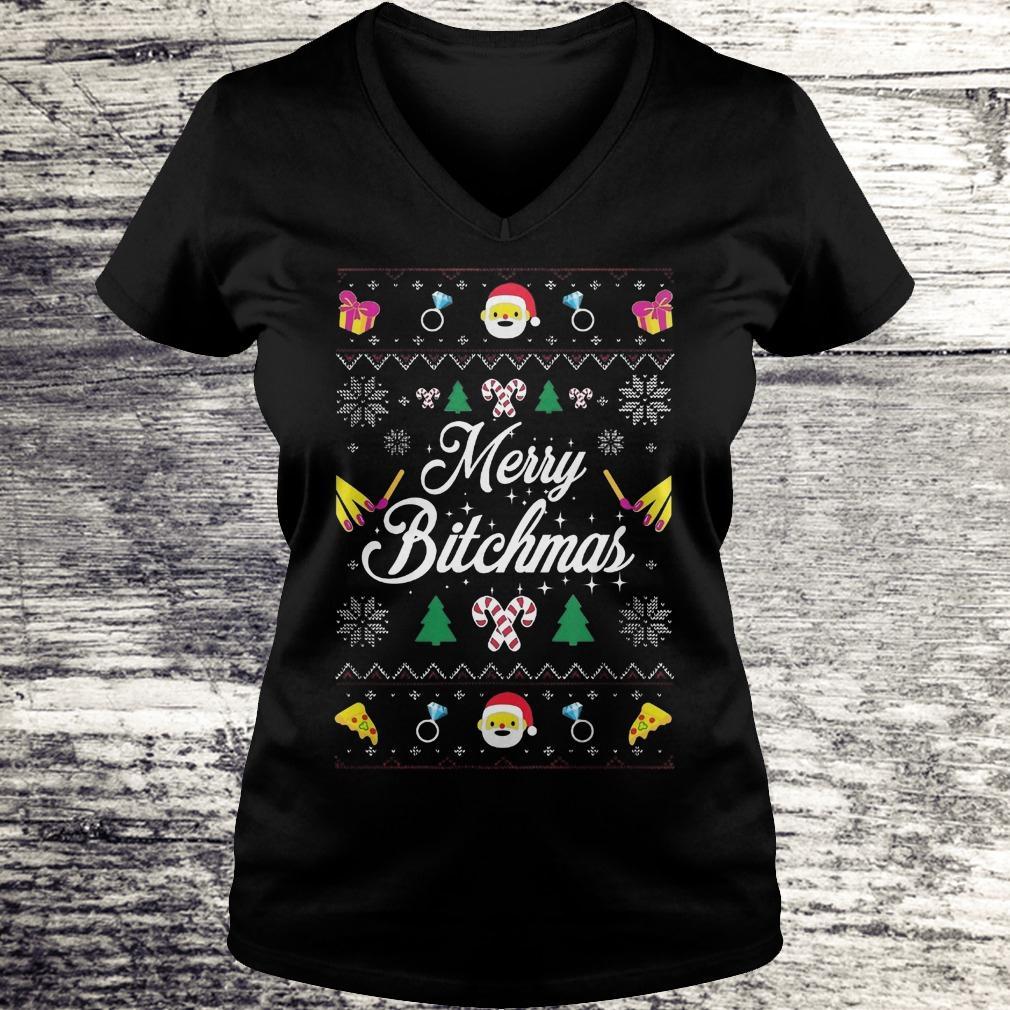 Best Price Merry Bitchmas Sweater shirt Ladies V-Neck