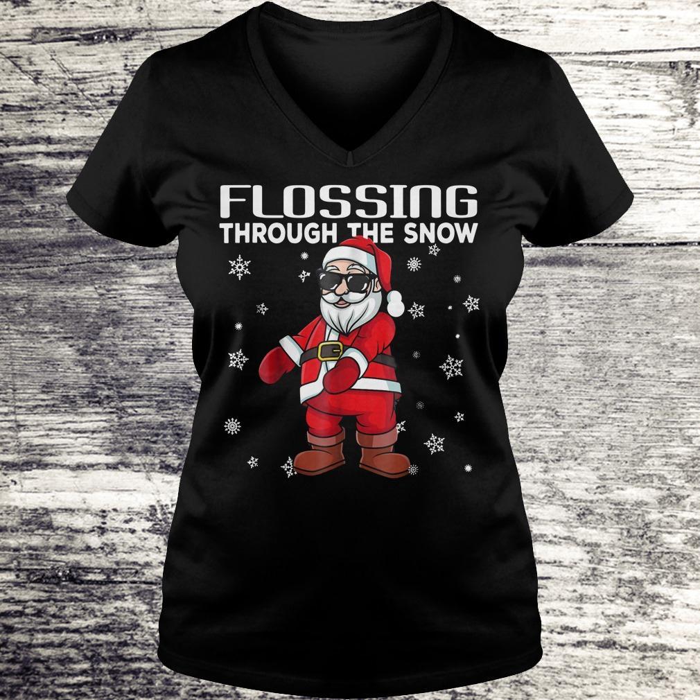 Original Santa Flossing through the snow shirt Ladies V-Neck