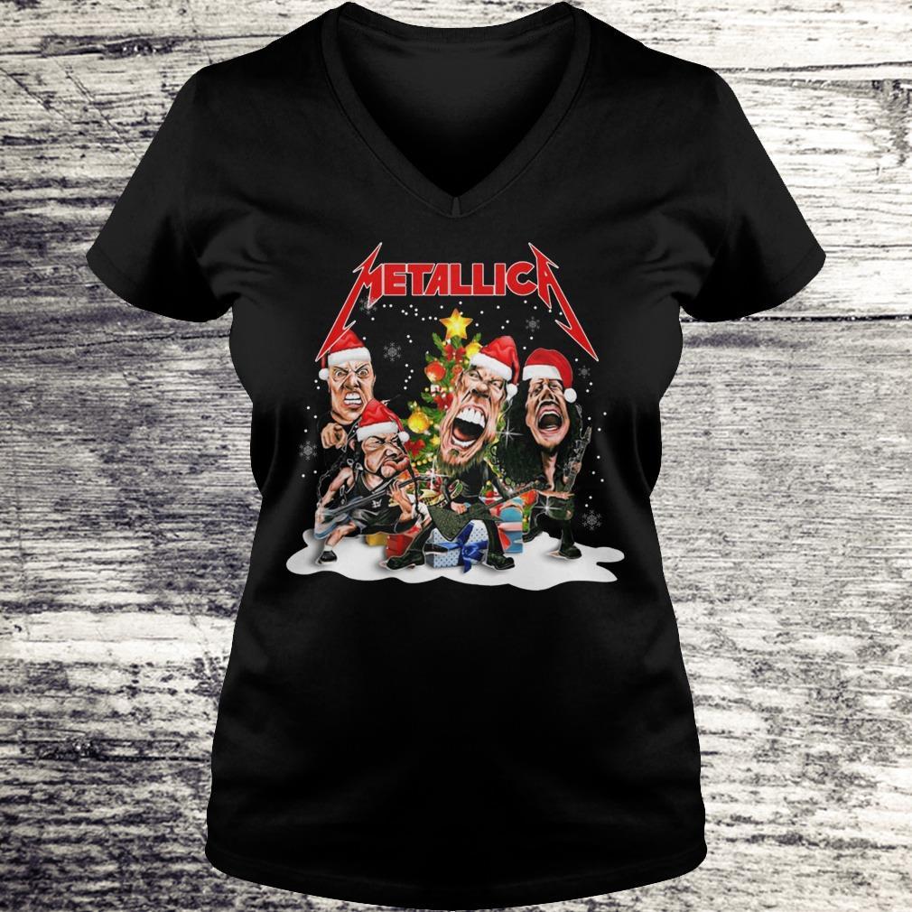 Top Metallica Christmas tree shirt Ladies V-Neck