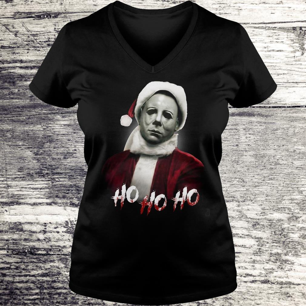 Top Michael Myers Santa Hat shirt Ladies V-Neck