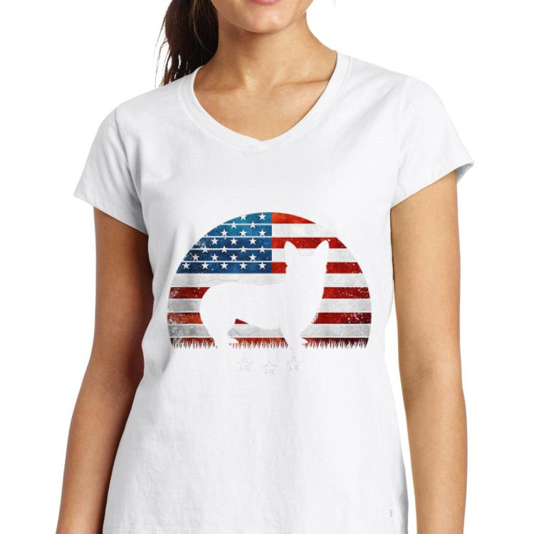 4th Of July Corgi America Distressed Flag Sunset shirt