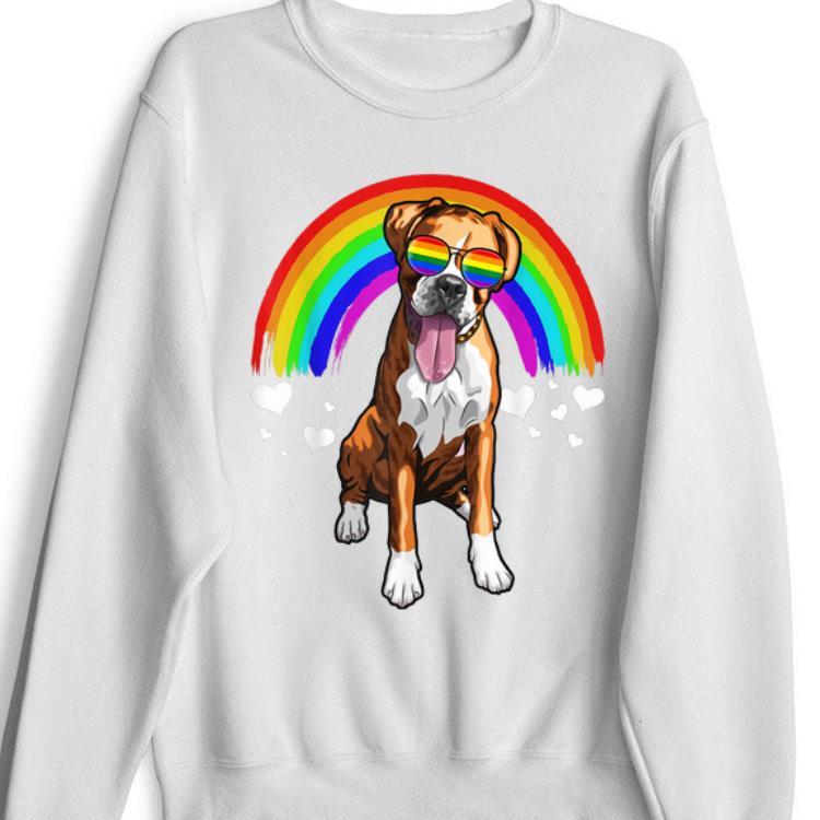 Boxer Dog Rainbow Sunglasses Gay Pride Lgbt Gifts shirt