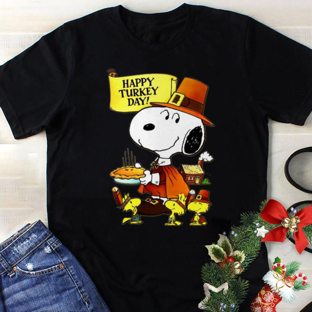 Awesome Happy Turkey Day Snoopy And Woodstock Thanksgiving Day shirt
