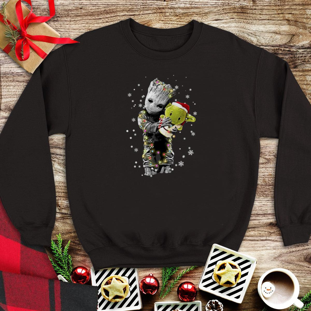 Awesome Baby Groot Hugging Baby Yoda Christmas Sweater 1 1.jpg