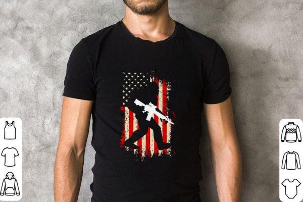 Awesome Bigfoot Gun with American Flag USA shirt