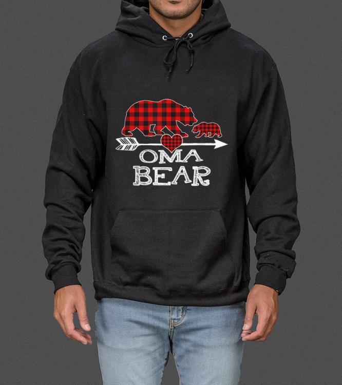 Great Red Plaid Oma Bear One Cub Matching Buffalo Pajama Xmas sweater