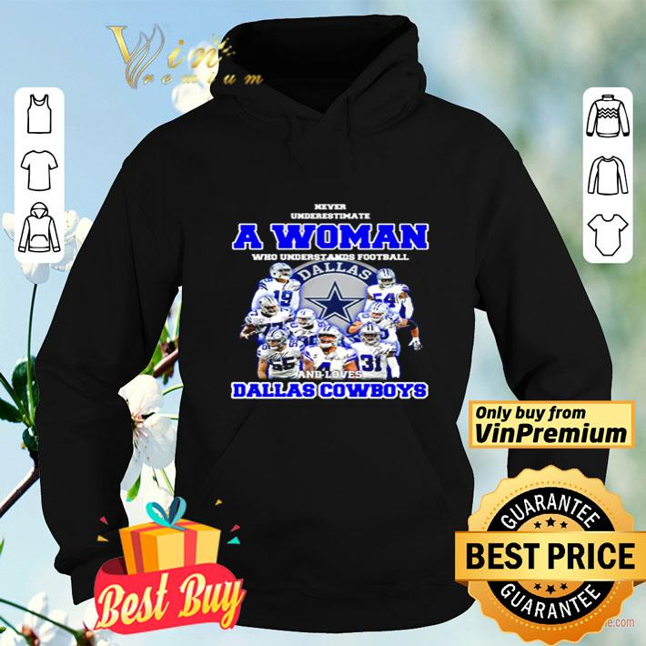 Never underestimate a woman who understands football and love Dallas Cowboys shirt