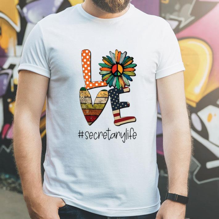 Love Hippie Sunflower American Flag Secretary Life shirt