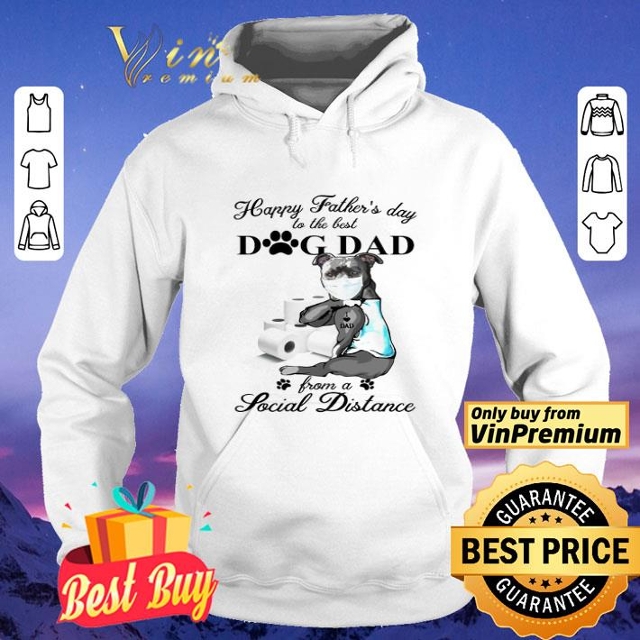 Pit Bull tattoo I love dad happy Father's day to the best dog dad from a social distance shirt