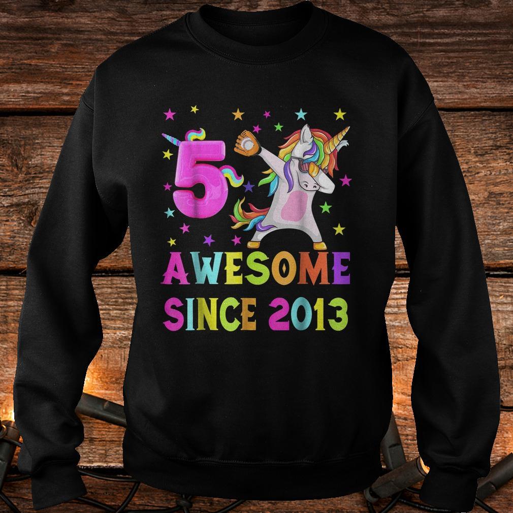 5 and awesome unicorn dabbing 5th B-day shirt
