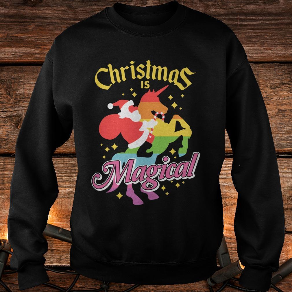 Christmas is magical Santa Claus riding unicorn shirt