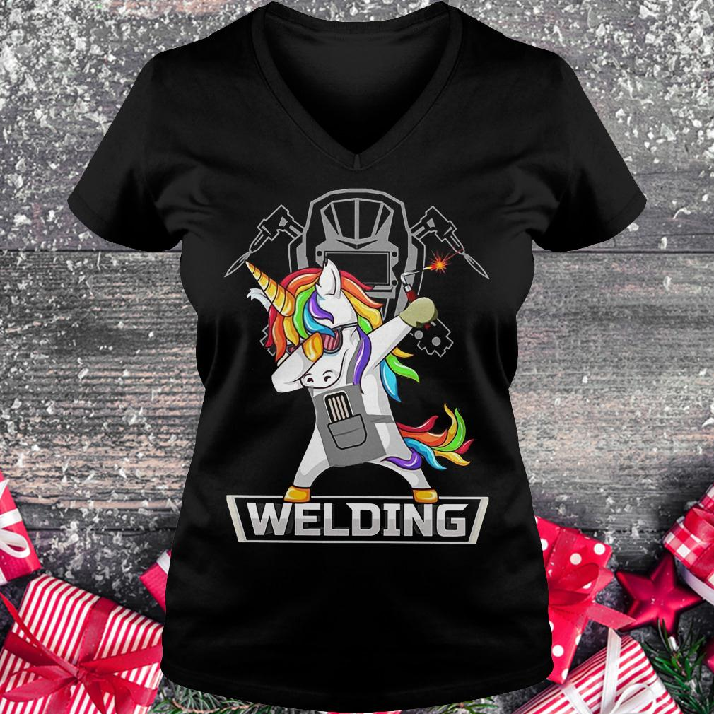 Dabbing unicorns welder shirt shirt Ladies V-Neck