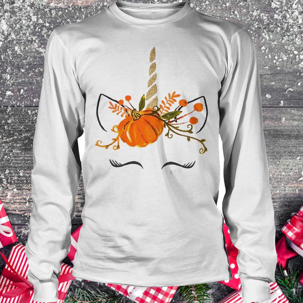Little girls Ruffle unicorn pumpkin halloween shirt Longsleeve Tee Unisex