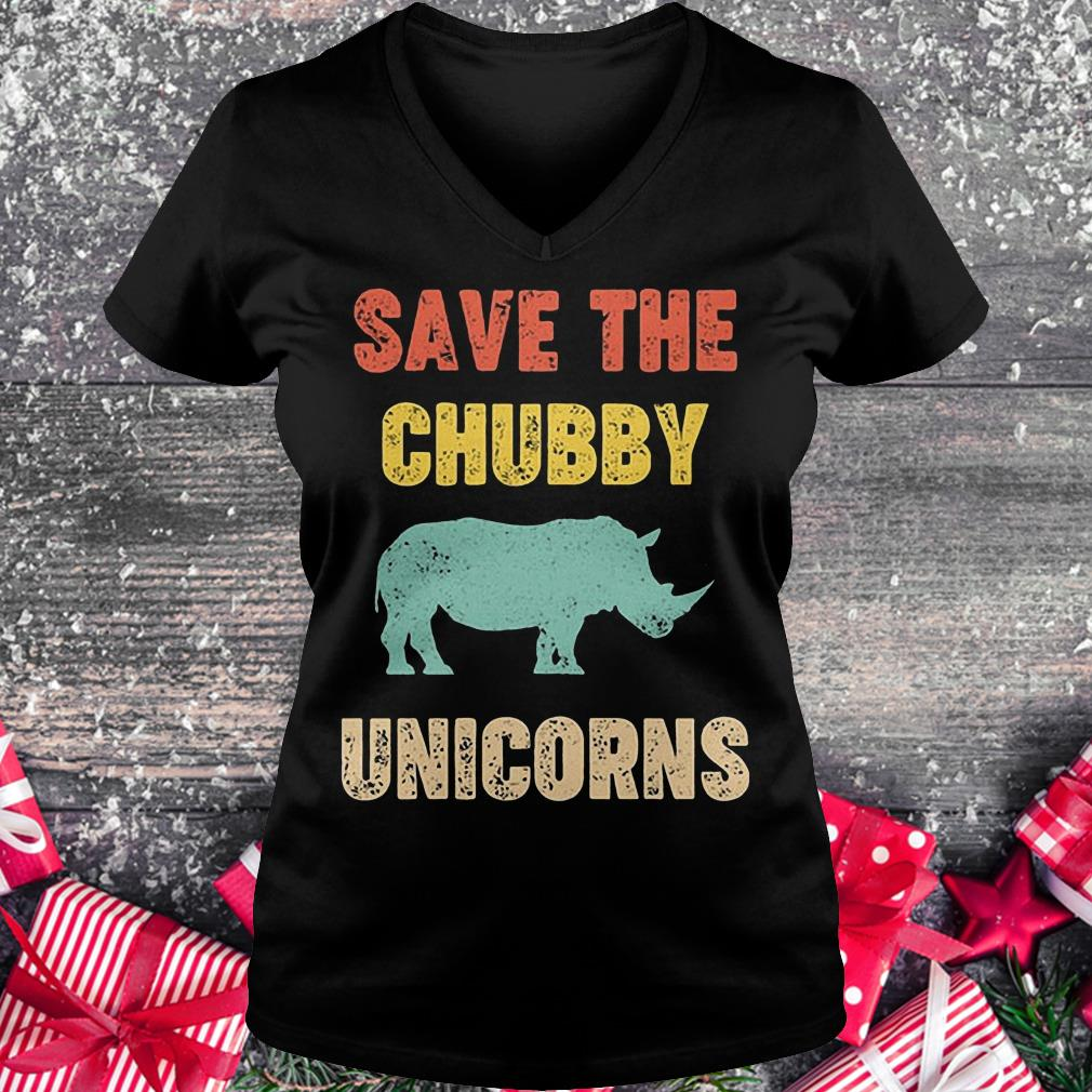 Rhinocerotidae save the chubby unicorn shirt Ladies V-Neck