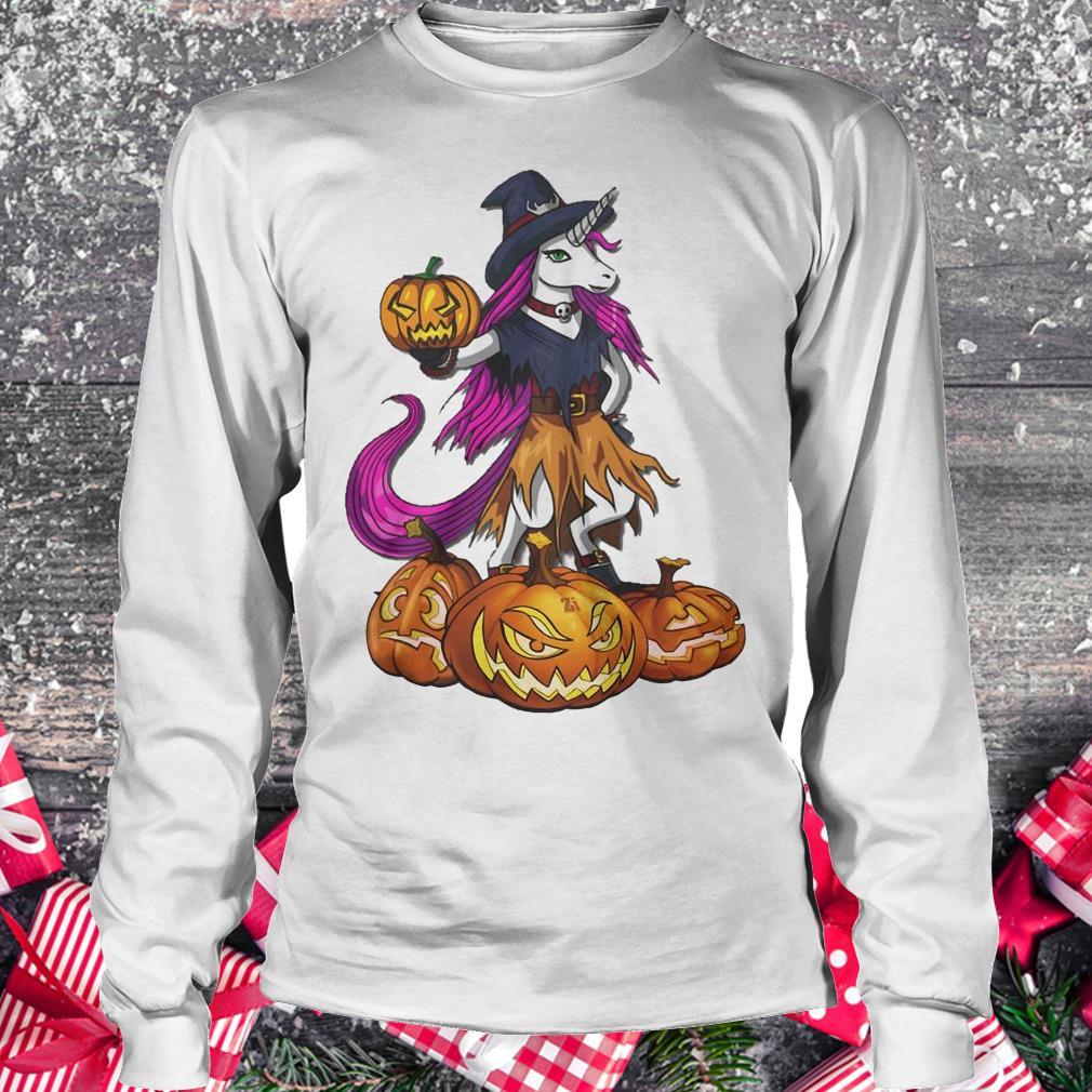 Unicorn Witch Spooky Halloween pumpkin shirt Longsleeve Tee Unisex