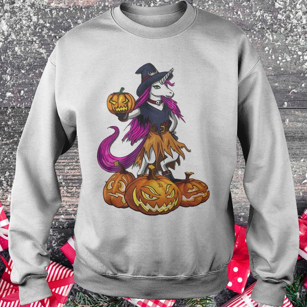 Unicorn Witch Spooky Halloween pumpkin shirt Sweatshirt Unisex