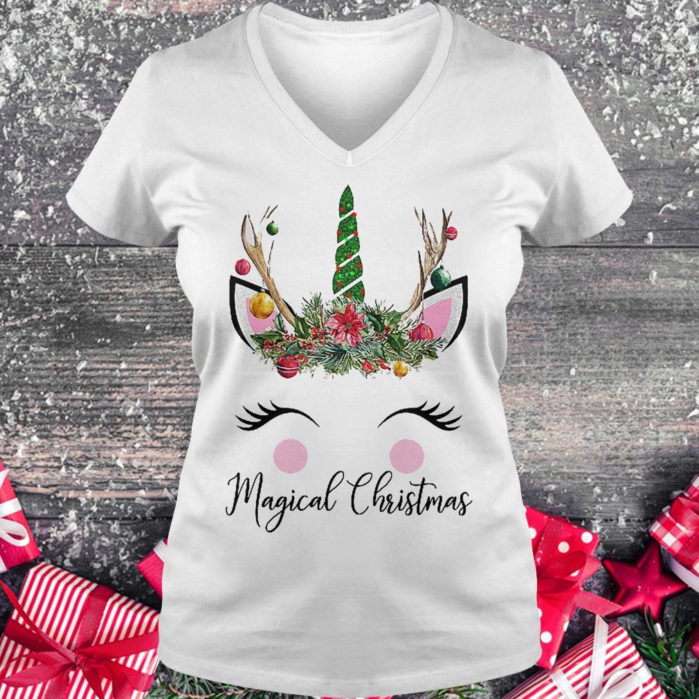 Unicorn magical Christmas shirt Ladies V-Neck