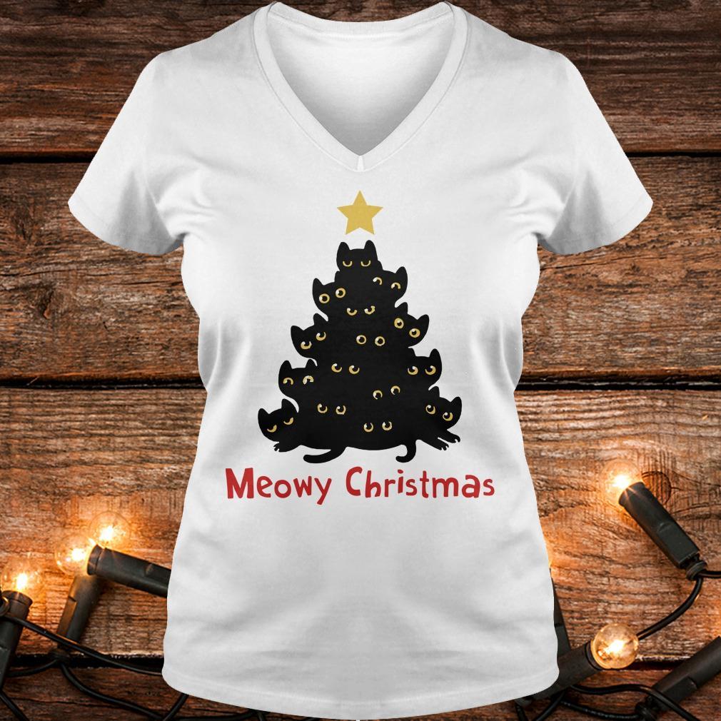 Cat Meowy Christmas Tree sweatshirt Ladies V-Neck