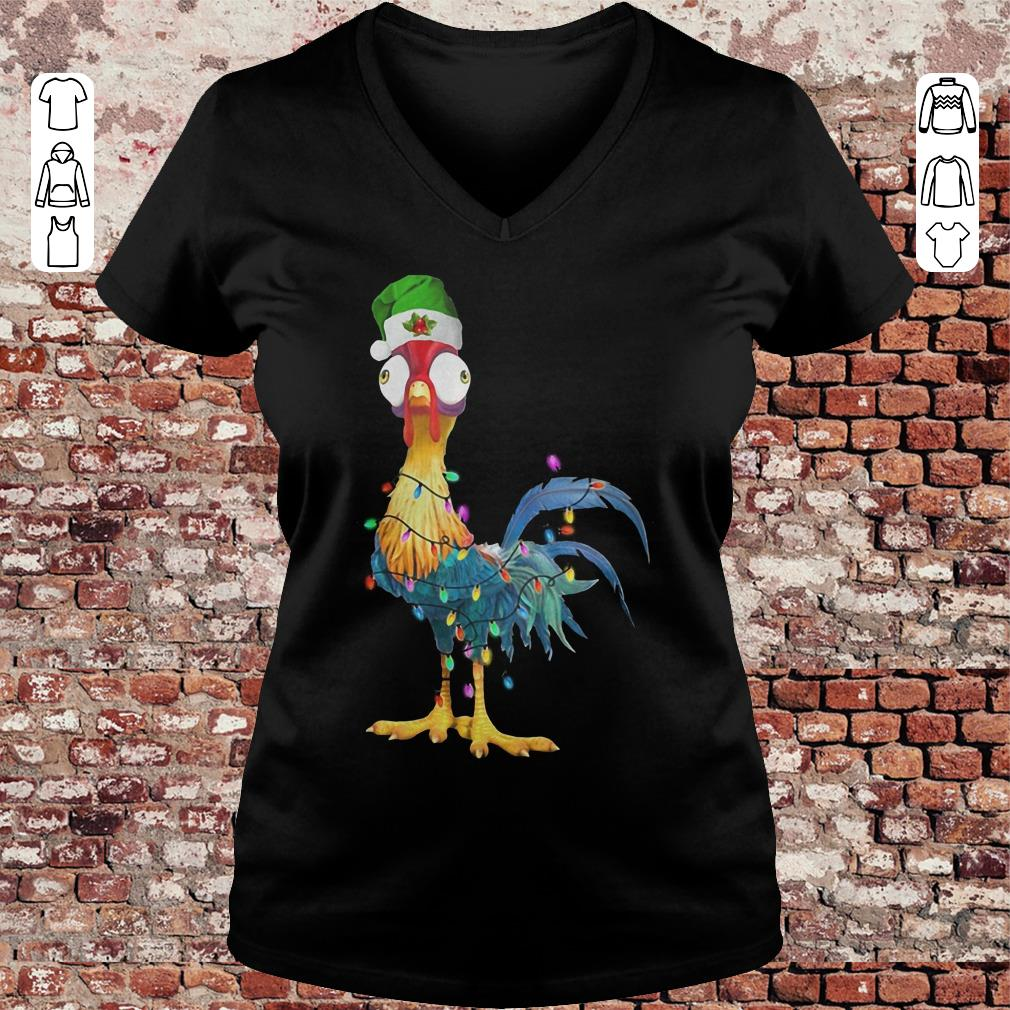 Chicken Hei Hei Christmas light shirt Ladies V-Neck