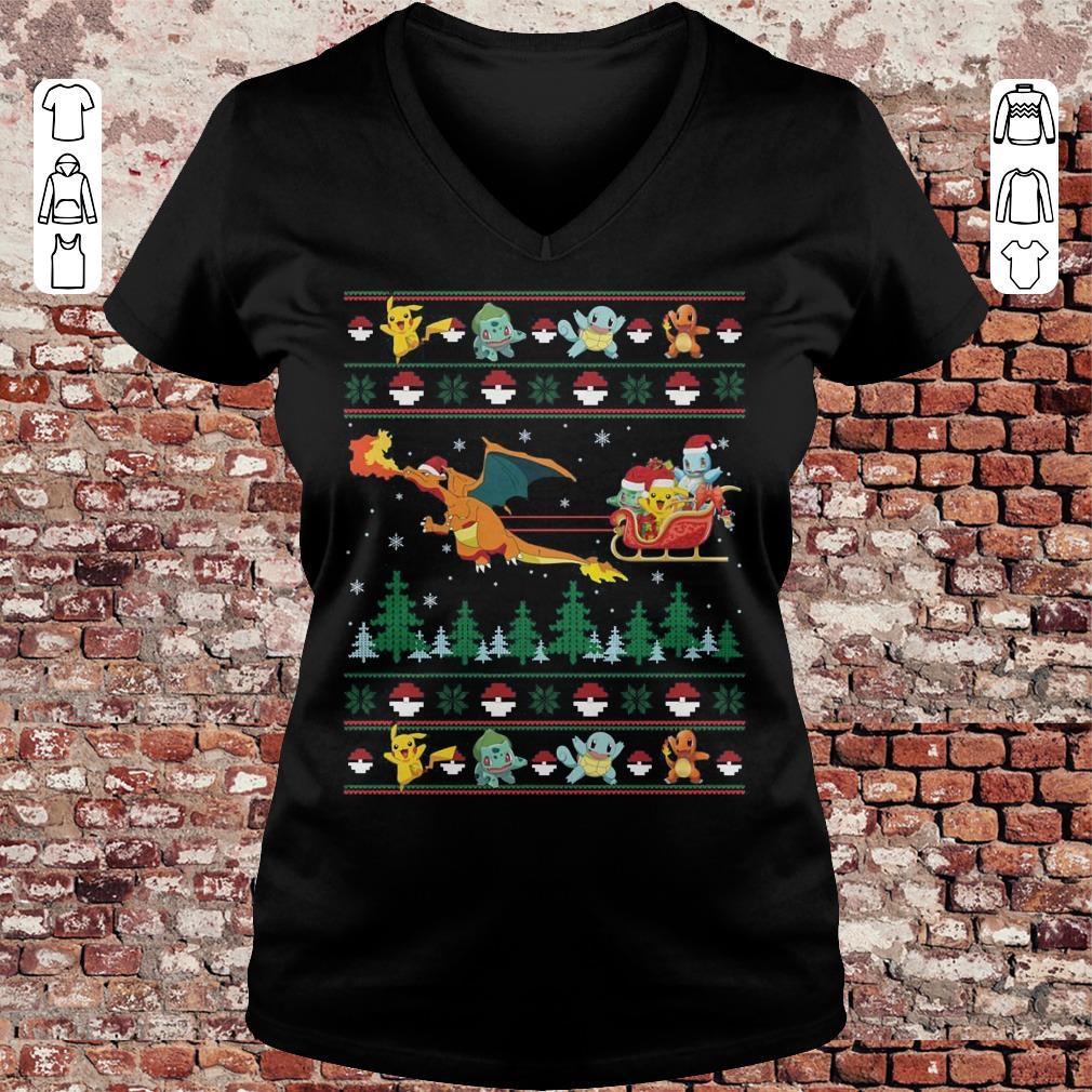 Christmas Pokemon Sweater shirt Ladies V-Neck