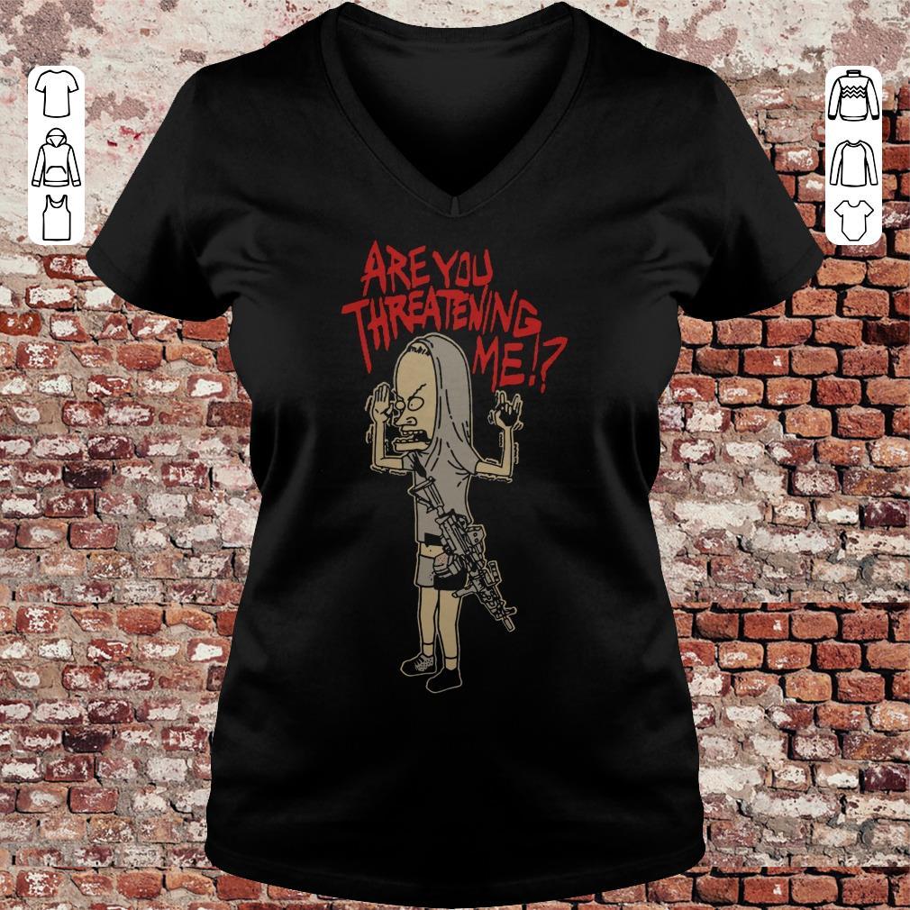 Cornholio Beavis and ButtHead Are you threatening me shirt Ladies V-Neck