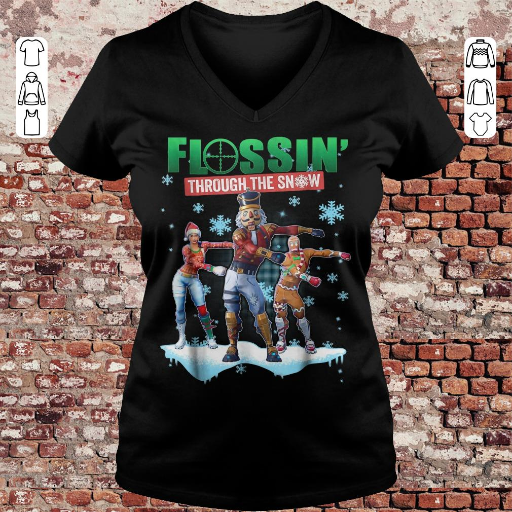 Fortnite Flossin Through the snow shirt Ladies V-Neck