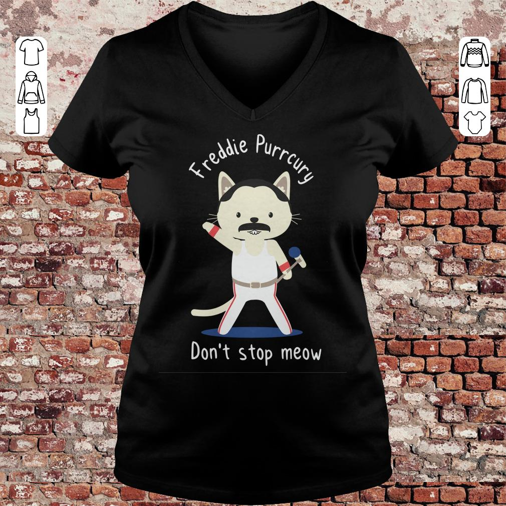 Freddie Purrcury Don't stop meow shirt, sweater Ladies V-Neck