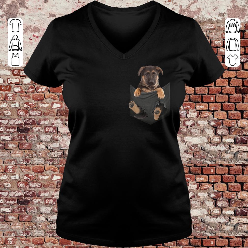 German Shepherd Baby Dog in Tiny Pocket shirt, sweater Ladies V-Neck