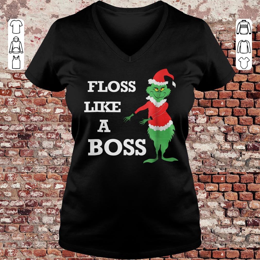 Grinches Floss Like A Boss shirt Ladies V-Neck