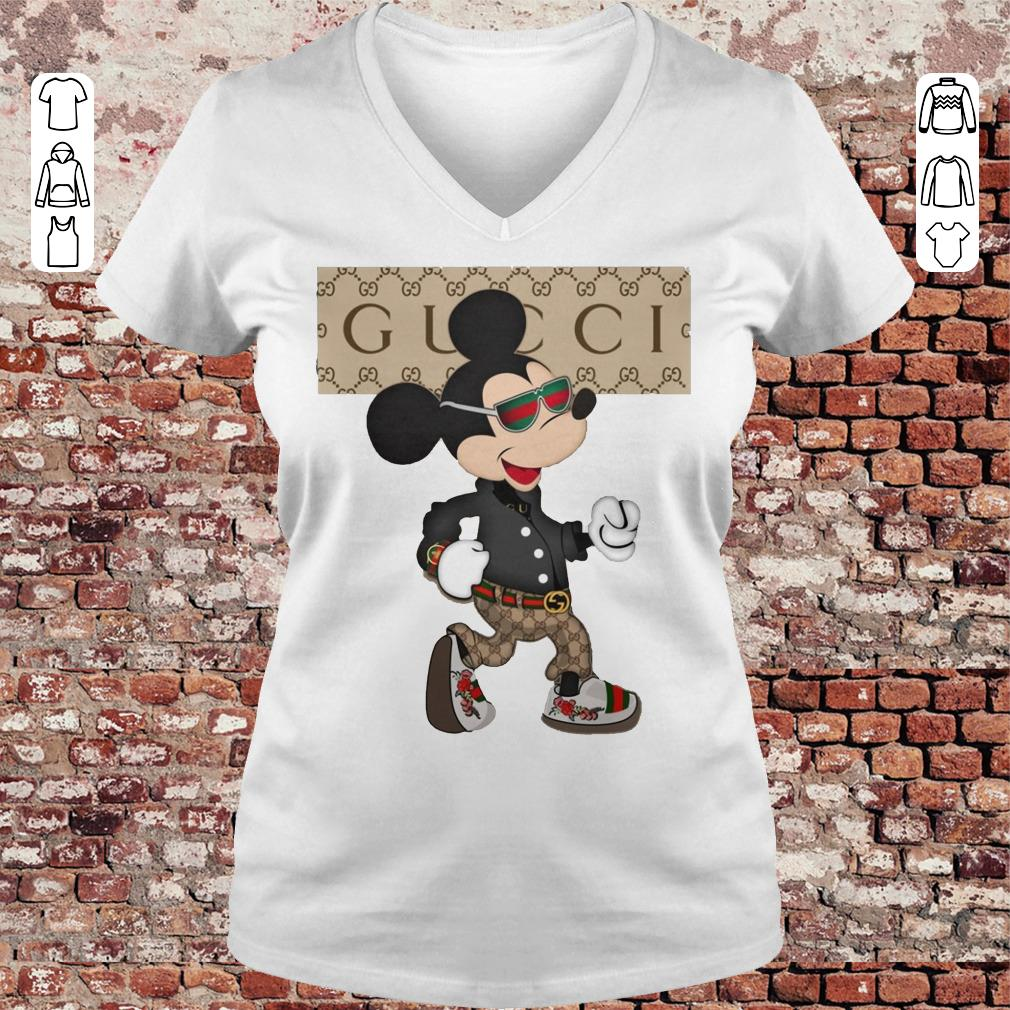 Gucci Mickey Mouse Stylish shirt Ladies V-Neck