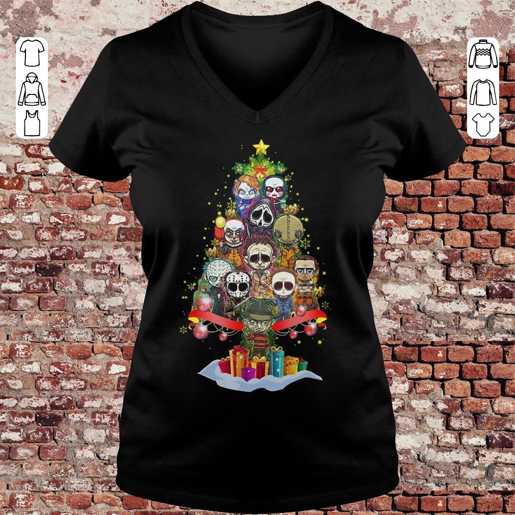 Horror characters nightmare christmas tree shirt Ladies V-Neck