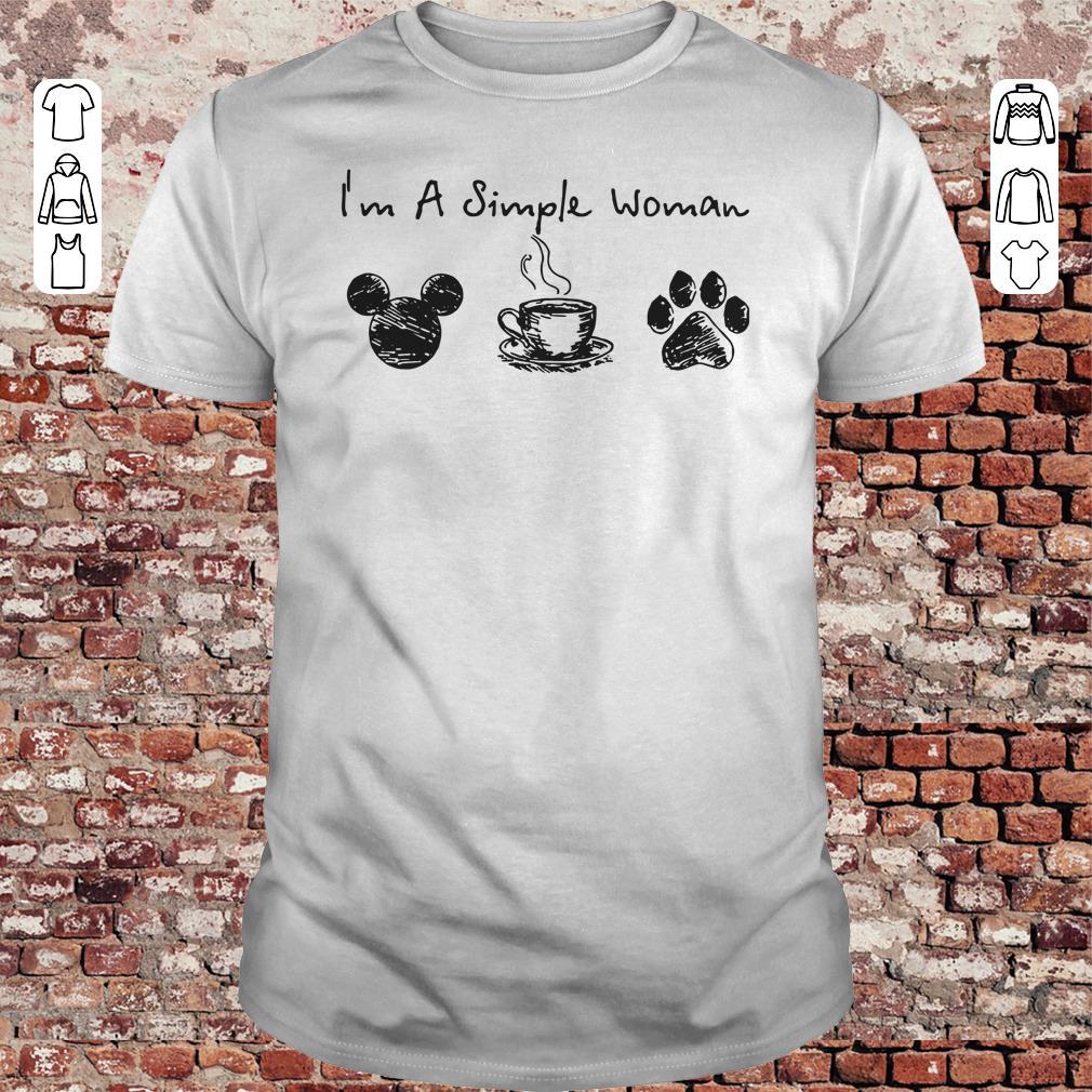 I'm a simple woman I like Mickey Minnie Mouse Coffee and Dog shirt