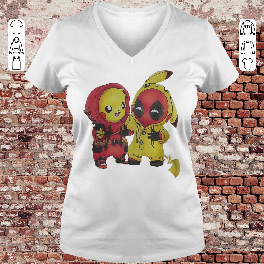 Pokemon Pikachu and Deadpool shirt Ladies V-Neck