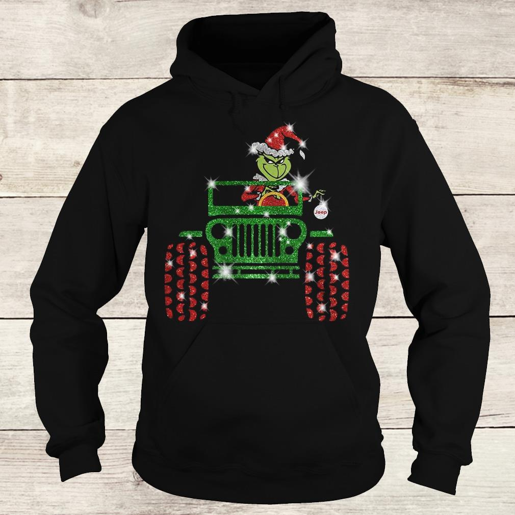 1e2bf7900b9a Premium Grinch Jeep christmas hat sparkly glitter shirt, hoodie, sweater