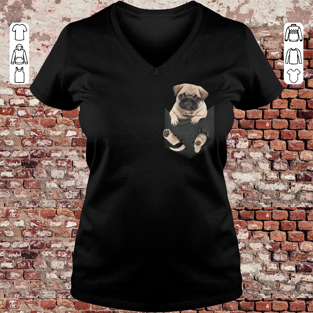Pug dog In Pocket shirt, sweater Ladies V-Neck