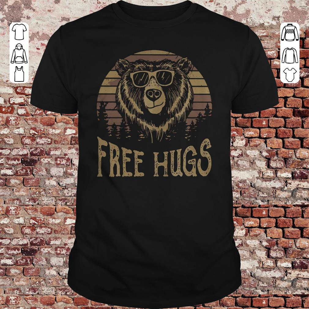 Retro Sunset bear free hugs shirt
