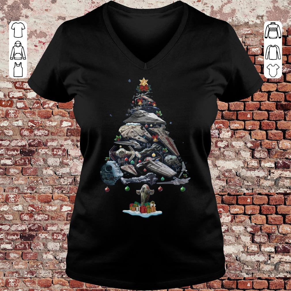 Spaceship Christmas Tree shirt Ladies V-Neck