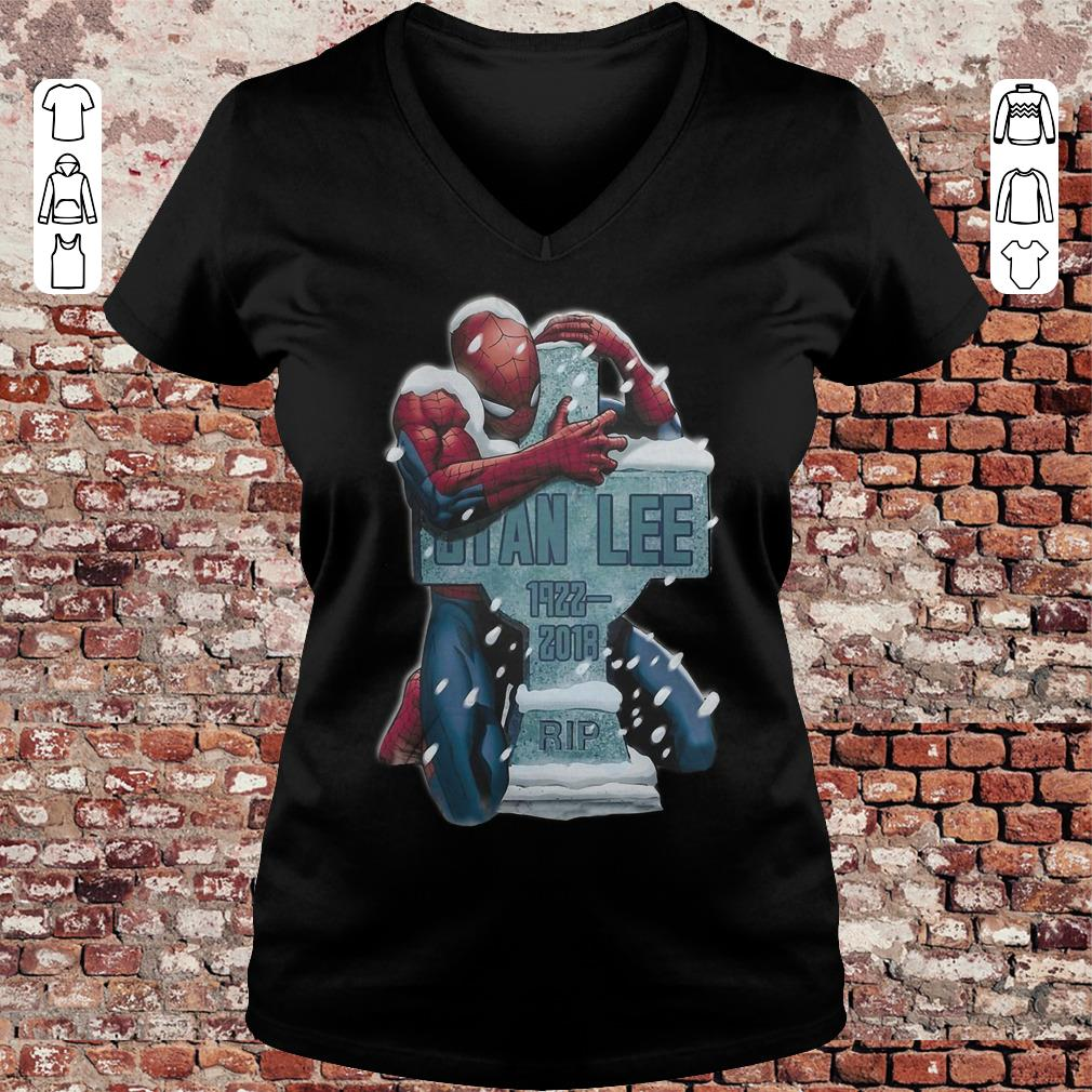 Spider Man hug grave Stan Lee shirt Ladies V-Neck
