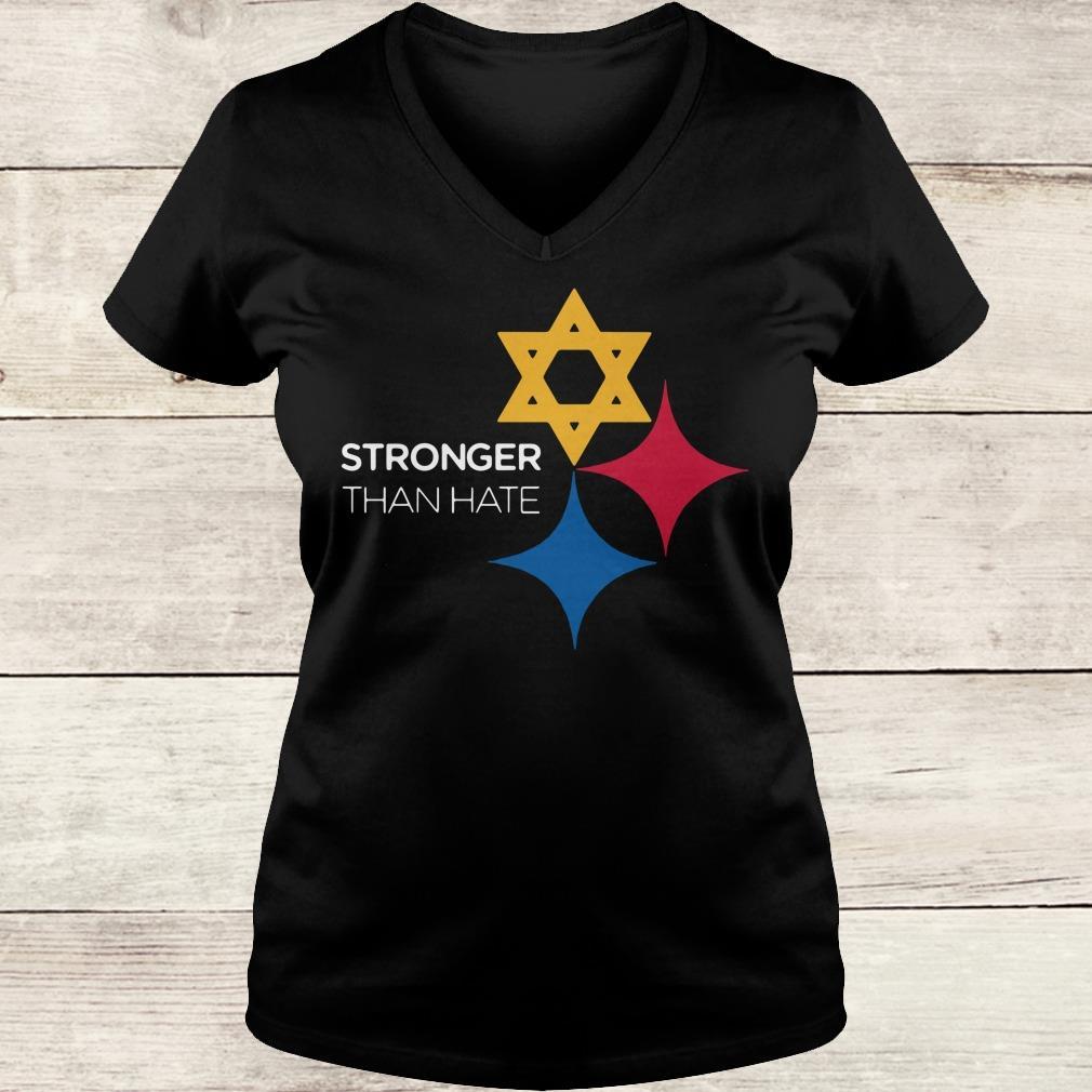 Steeler Stronger Than Hate Pittsburgh NFL shirt Ladies V-Neck