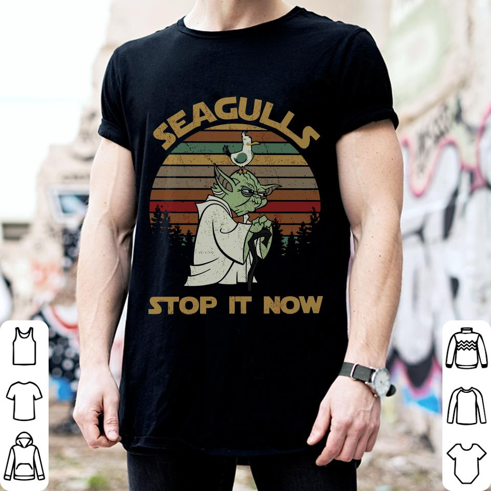 Sunset retro style Yoda Seagulls stop it now shirt