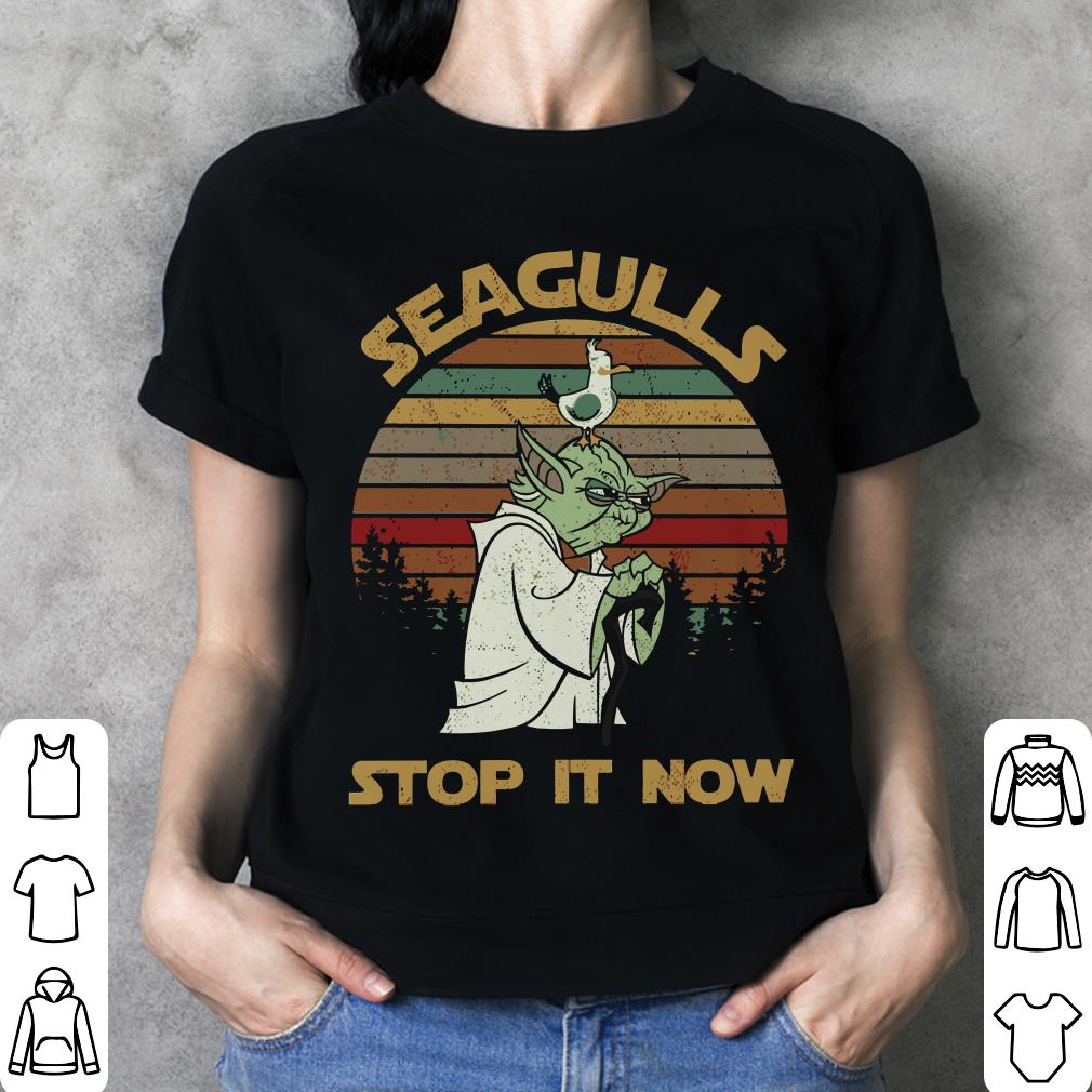 9251a2241 Sunset retro style Yoda Seagulls stop it now shirt, sweater, hoodie ...