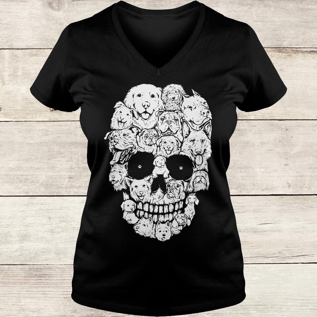 The best Boy Dogs stacked into skull shirt Ladies V-Neck