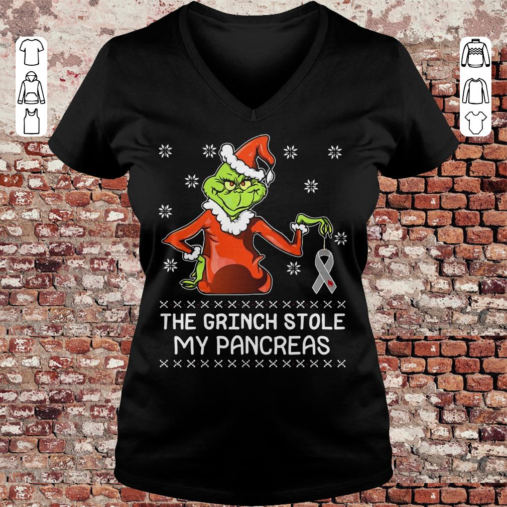 The grinch stole my pancreas Breast Cancer shirt Ladies V-Neck