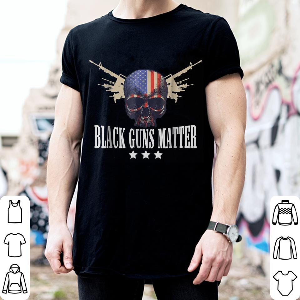 Black Guns Matter American Flag Skull Three Stars shirt 2