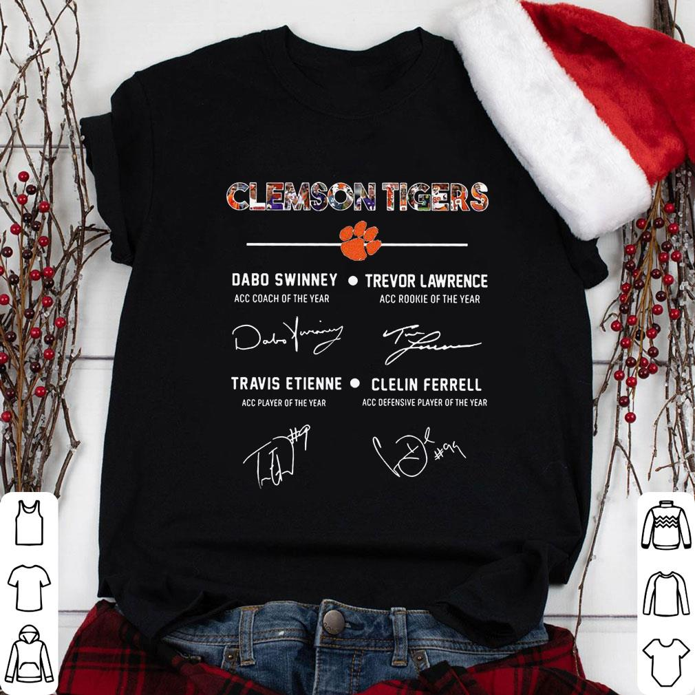 Clickbuypro Unisex Tshirt Clemson Tigers Signature Dabo Swinney Trevor Lawrence Travis Etienne Clelin Ferrel Shirt Hoodie White M