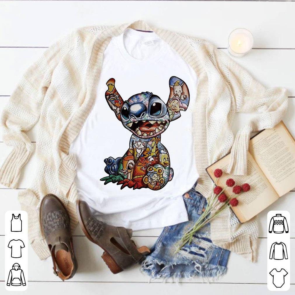 Disney Characters inside Stitch shirt