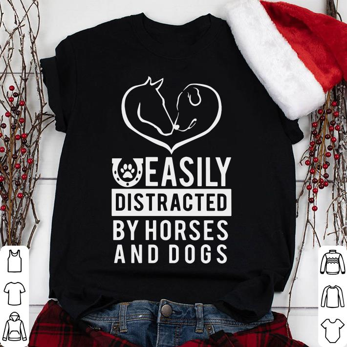 Clickbuypro Unisex T-shirt Easily Distracted By Dogs And Horses Shirt Hoodie Blue S