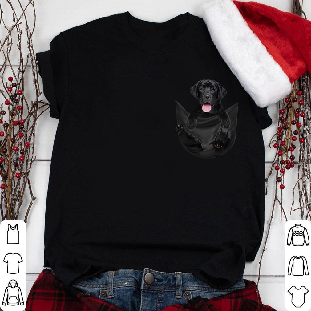 Black Labrador Retriever dog inside pocket shirt